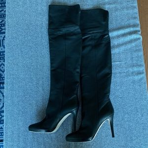 Jimmy Choo - Black Leather Giselle Over-Knee Boots